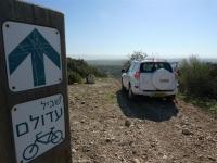 מסלול שטח פארק עדולם. טויוטה ראב 4 2011 בפיצול השביל לאופניים צילום פז בר