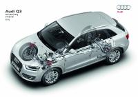 אודי Q3 חדשה. חתך של ה-Q3 חושף את סידור מערכת ההנעה quattro המשותפת לכל דגמי Q מ-AUDI צילום: AUDI AG