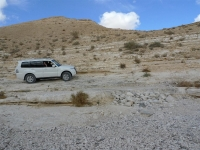 מסלול שטח במערב מכתש רמון. מיצובישי פאג\'רו 2011 מתמודד עם מכשול טכני בערוד צילום פז בר