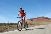 טיול אופני הרים בין יקבי רמת הגולן. מיער אודם עד לקצרין - על הכביש של עמק הבאכה ליד האנדרטה. צילום: פז בר