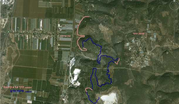 תוואי הסינגל המתוכנן במערב הר הכרמל. רק 60,000 שקלים דרושים להשלמת המיזם. צילום: EZHARIM