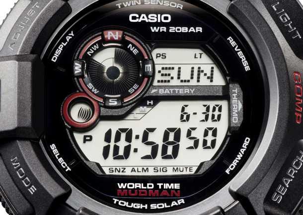 תוך האריזה הבוצית תמצאו מצפן, מד חום, שעון עולמי, סטופר ועמידות ב-200 מטרים של צלילה. casio gshock mudman קובע את התקן לקשיחות. צילום: CASIO