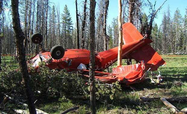 """מטוס הסטינסון לאחר האירוע. """"חשבתי לעצור את ההמראה"""" אמר בדיעבד הטייס בן ה-70. צילום: AOPA"""