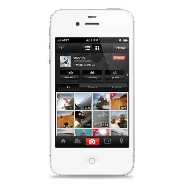 """האפליקציה של """"אאוטרייד"""" משלימה את חבילת המוצר עם יכולת לצלם, לערוך ולשתף בקהילה צילומים ו-ווידאו מכל אייפון 4 או 4S. צילום: יצרן"""