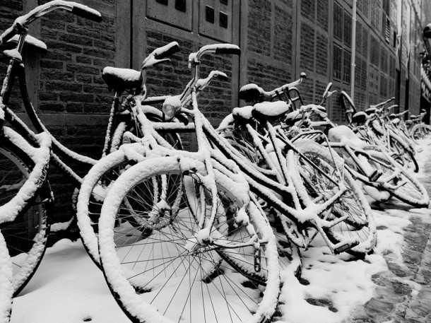 רוכבים על אופניים גם בחורף? בהולנד יפשירו את שבילים האופניים עם מים חמים. צילום: Jos van Zetten