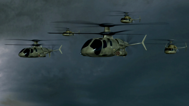 סיקורסקי S97 ריידר. הדמיה של סיקורסקי לצבא היבשה האמריקאי. כך עשוי להיראות כוח פשיטה מוסק. צילום: SIKORSKY