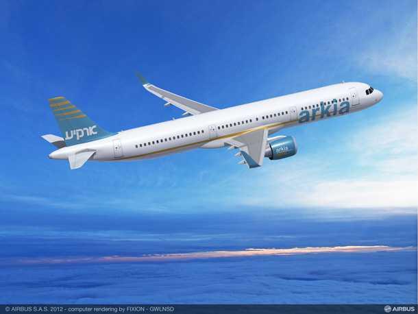 איירבס A321neo. אחד מארבעה איירבס חדשים ארקיע חתמה על הסכם רכישה ב-2012 עם איירבס. צילום: איירבס