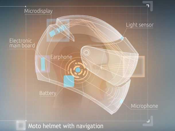 """קסדת אופנוע משולבת GPS. האיור מראה את פיזור הרכיבים השונים בחלל קסדת האופנוע. המשקל רק 1.4 ק""""ג. צילום: LIVE MAP"""