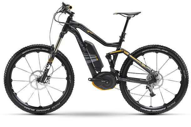 אופני הרים עם מנוע עזר חשמלי. גלגלי 27.5 אינץ' ואביזרי קצה מ-FOX ו-SRAM יחד עם מנוע של בוש יקפיצו את המחיר ל-6,000 אירו. צילום: HAIBIKE