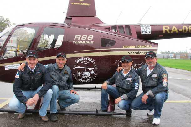 מסוק רובינסון R66 טס מסביב לעולם. ארבעת הטייסים חלקו כ-220 שעות טיסה כדי להשלים את הקפת העולם. צילום: רובינסון