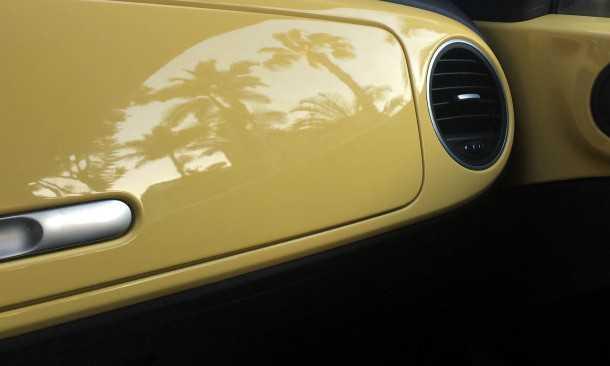 נהיגה עם פולקסווגן חיפושית חדשה - ההשתקפות של הדקלים היא בתוספת תשלום ותופיע רק בגרסה היקרה. צילום: צח פלדמן