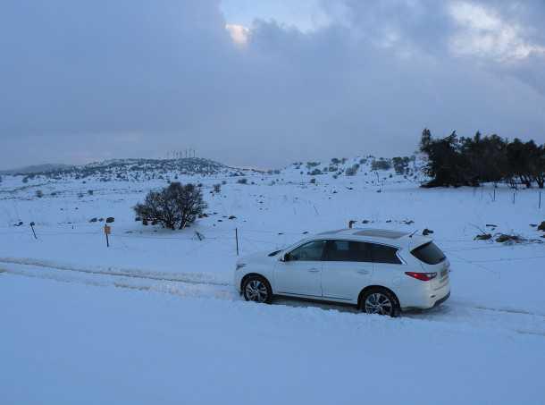 מבחן רכב אינפיניטי QX60. איזה יופי...השלג הכוונה. כמעט שכבר שכחנו ממנו. צילום: ניר בן זקן