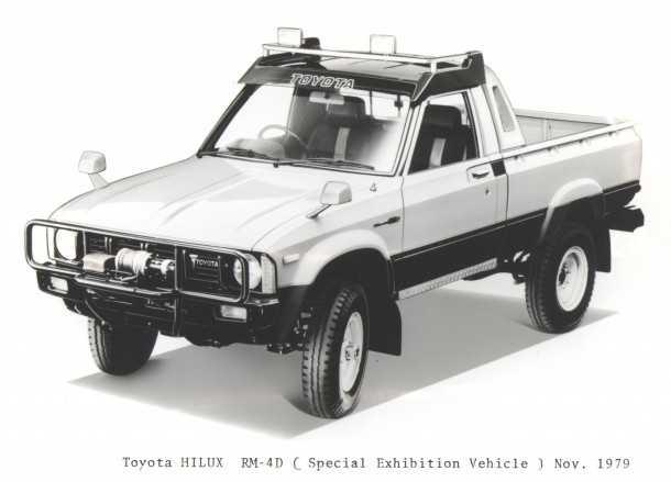 Hi-Lux RM-4D. רכב תצוגה של טויוטה על בסיס היילקס של שנת 1979. גם אז טויוטה חיפשה את מקדם המגניבות של רכבי העבודה. צילום: TOYOTA