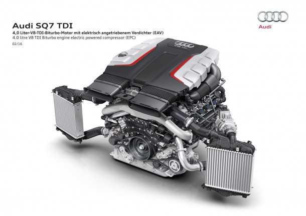 """אודי SQ7. מנוע דיזל עם 3 מגדשי טורבו ותפוקה של 435 כוחות סוס ומעל 90 קג""""מ. צילום: אודי"""