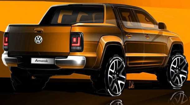 הדור הבא של פולקסווגן אמארוק כבר נראה באופק והוא מטפס גבוה יותר בסולם הפרימיום. איור: VW