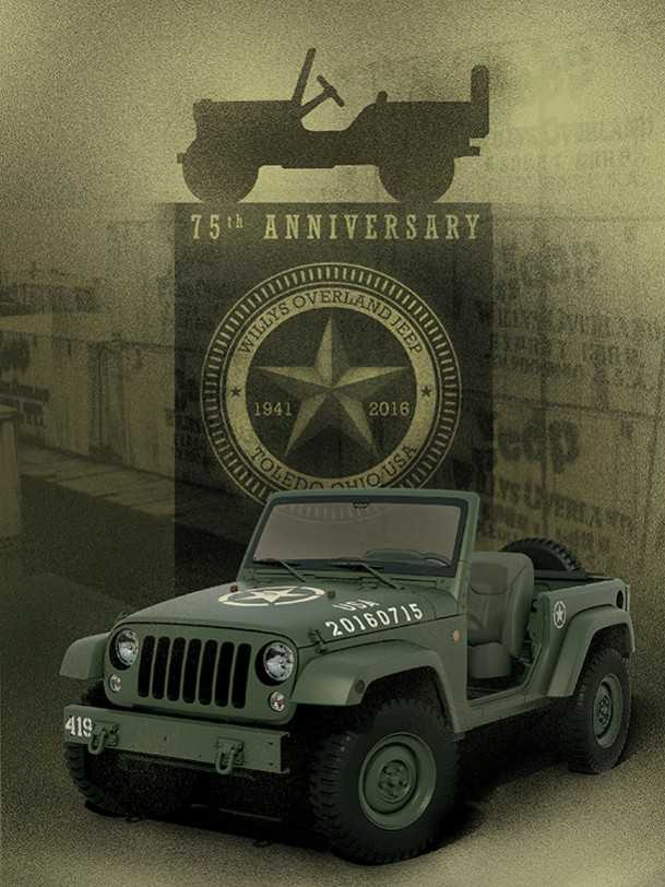 jeep wrangler 75 year edition - רנגלר מינימאליסטי לציון 75 שנים למותג ג'יפ. צילום: JEEP