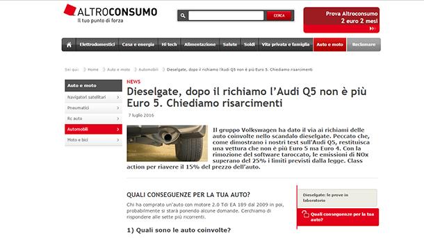 העמוד מתוך אתר הצרכנות האיטלקי אשר ביצע את הבדיקה.