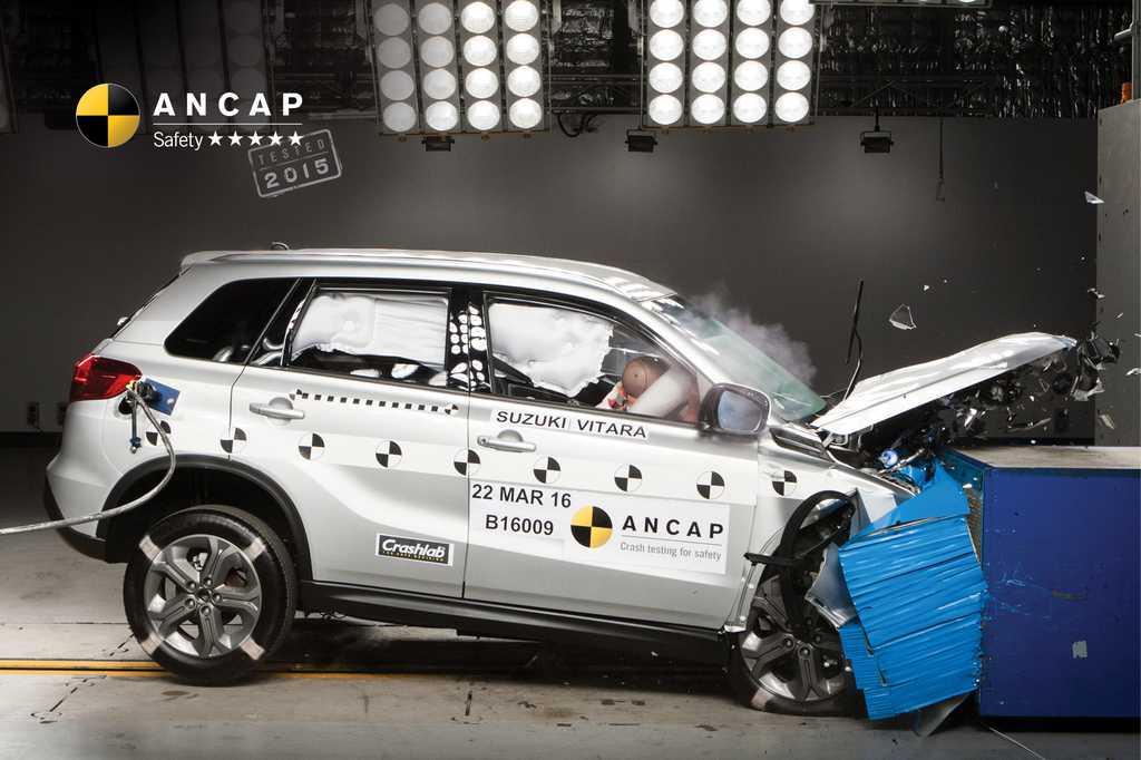 ציון בטיחות מלא לכל גרסאות הדגם של סוזוקי ויטארה גם במבחני הריסוק באוסטרליה. צילום:ANCAP