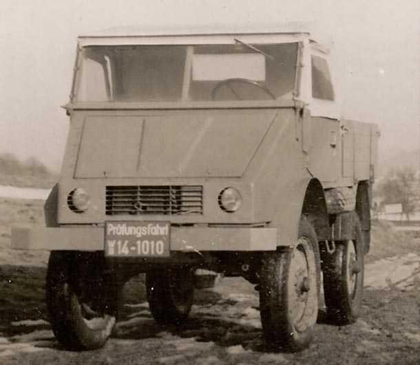 אבטיפוס ראשון מדצמבר 1946מצויד במנוע דיזל וצמיגי משאית. צילום: מרצדס