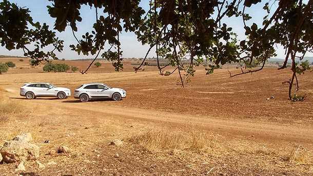 מבחן דרכים השוואתי יגואר FPACE מול פורשה מאקאן. טעמים שונים, יכולת נהדר. בשטח יש לפורשה כפתור offroad. צילום: רוני נאק