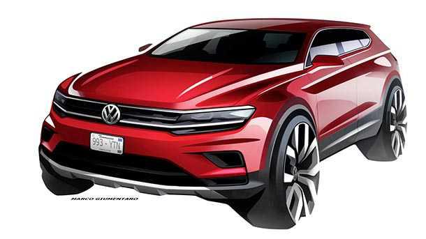 פולקסווגן טיגואן עם 7מושבים ומרכב מאורך ייחשב בחודש הבא בדטרויט בתערוכת הרכב. איור: VW
