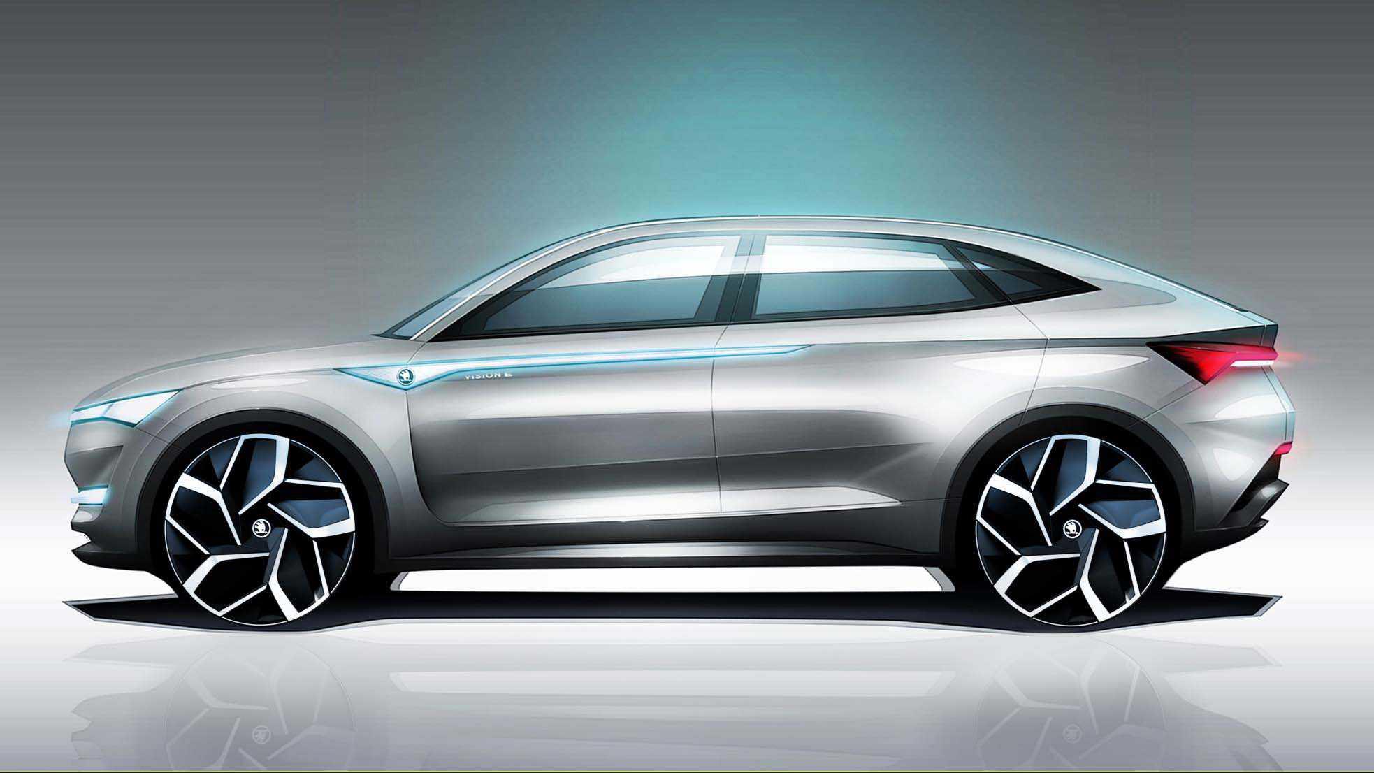 VISION E סקודה - העתיד החשמלי של היצרן בתוך רכב תצוגה בצורת קופה/פנאי עם קריצה למותגי הפרימיום הגרמניים. צילום: סקודה