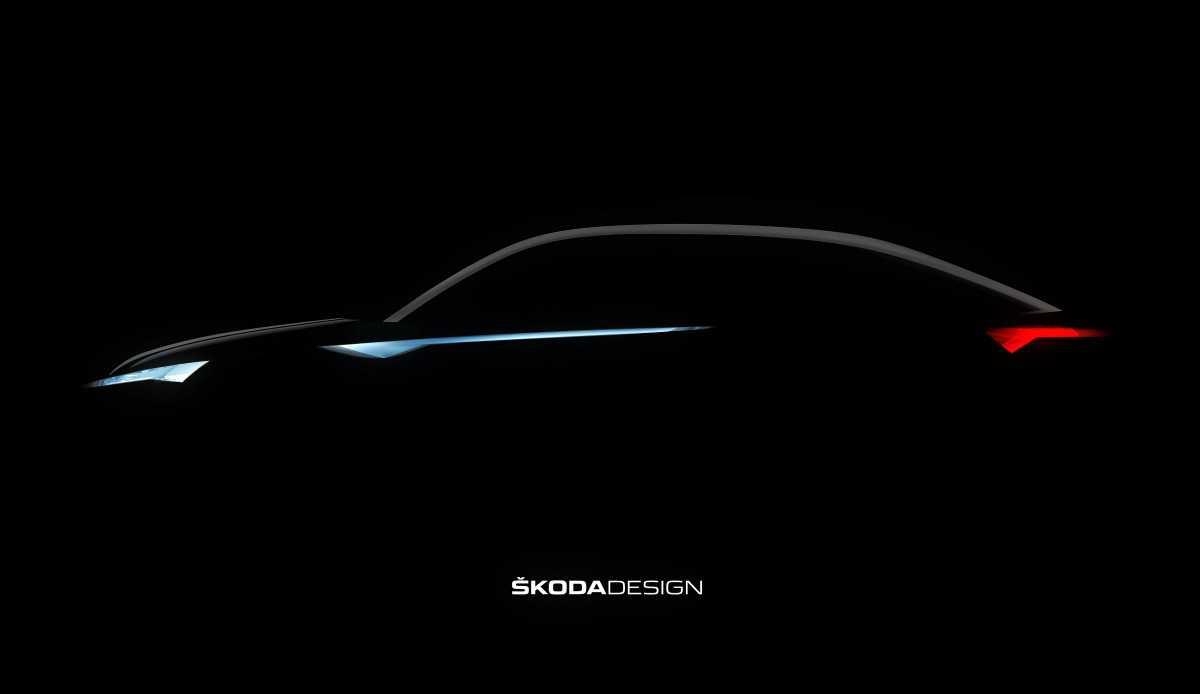זו הצללית של סקודה Vision E - האם החזון החשמלי של סקודה כולל רכב פנאי-קופה? צילום: סקודה