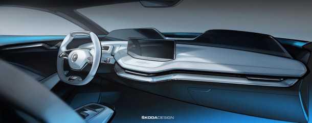 סקודה חושפת תרשימים של תא הנהג של וויז'ן E - קונספט המרמז על עיצוב הפנים העתידי של רכבי המותג. צילום: סקודה