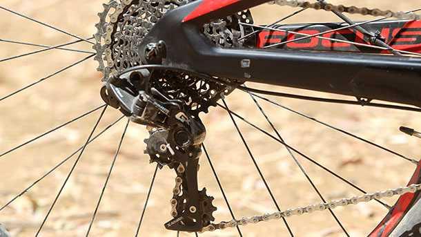 מבחן אופניים פוקוס O1E איבו. העברת כוח של SRAM בסידרו של 11X1 - מעביר דגם GX. צילום: פז בר