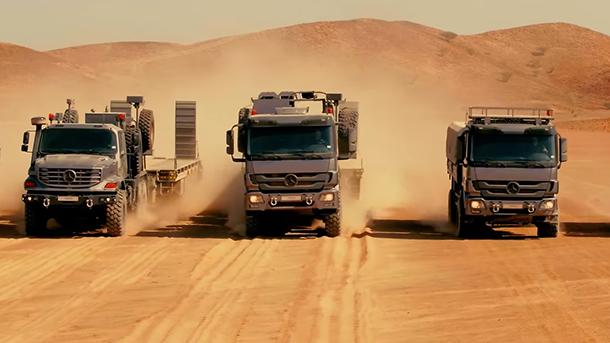 משאיות מרצדס בשטח - מקס הזועם אפס - צילום: מרצדס