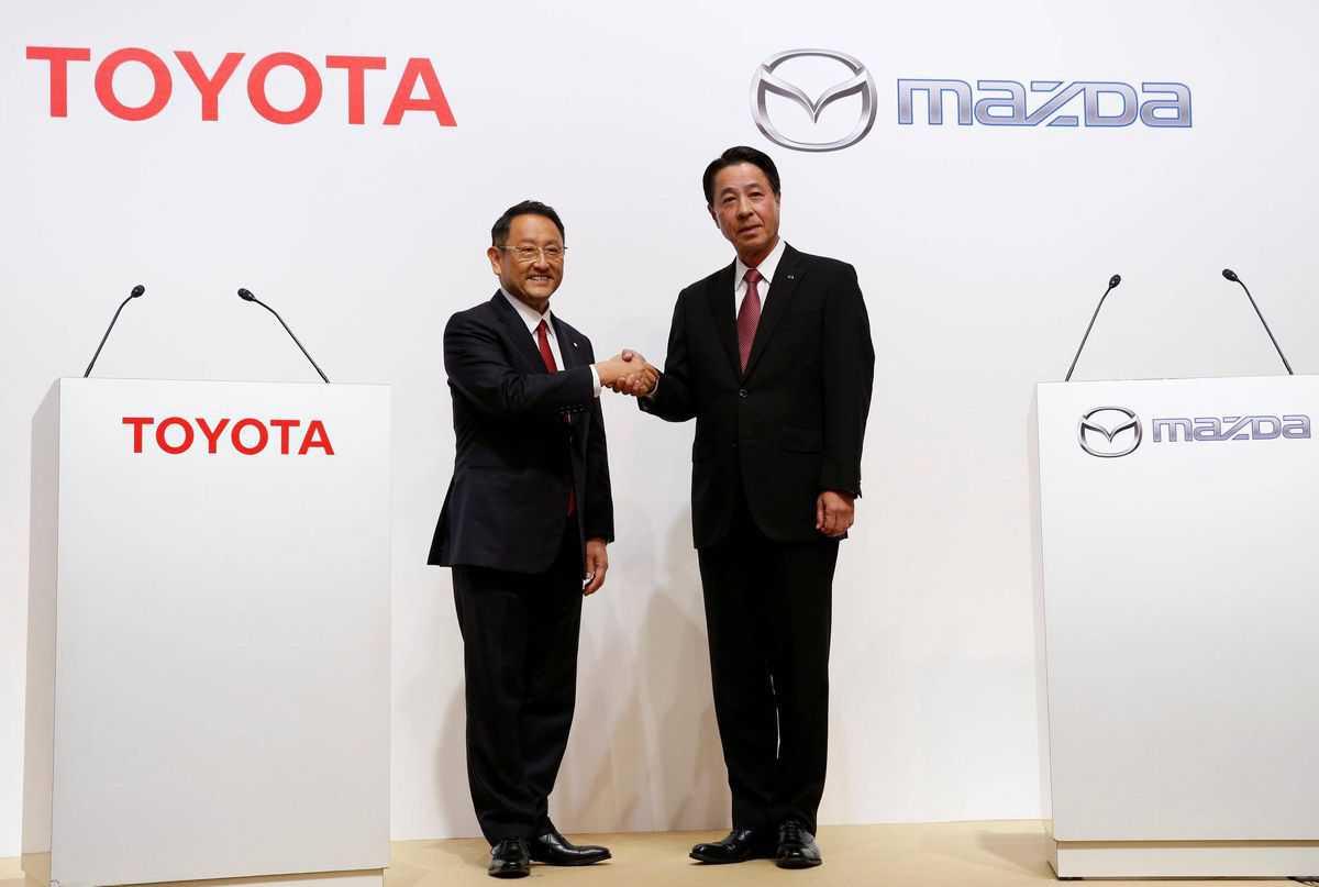 שיתוף פעולה אסטרטגי בין טויוטה למאזדה. 1ץ6 מילארד דולרים למפעל חדש וטכנולוגיות. צילום: מאזדה