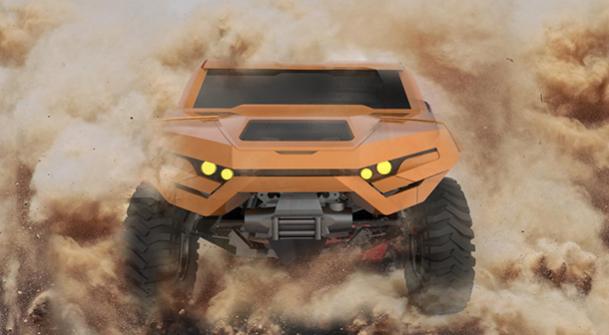 איור לרכב מבצעי עתידי עם הנעה היברידית, מתלים נפרדים, ותצורה מודולארית המאפשרת התאמה למגוון משימות, חימוש ודמיון. איור: REGO