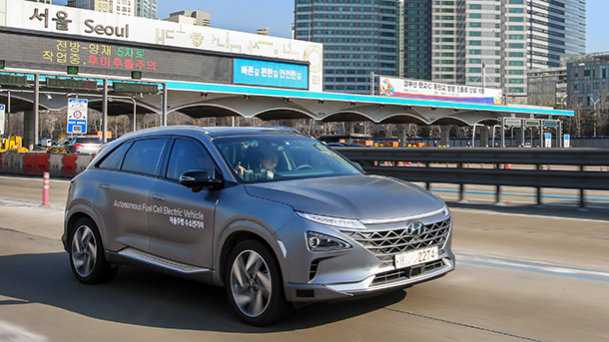 יונדאי נקסו - NEXO - עם הנעה חשמלית ותאי דלק ביצעה נסיעה אוטונומית מוצלחת בקוריאה - כך מדווחת יונדאי. צילום: יונדאי