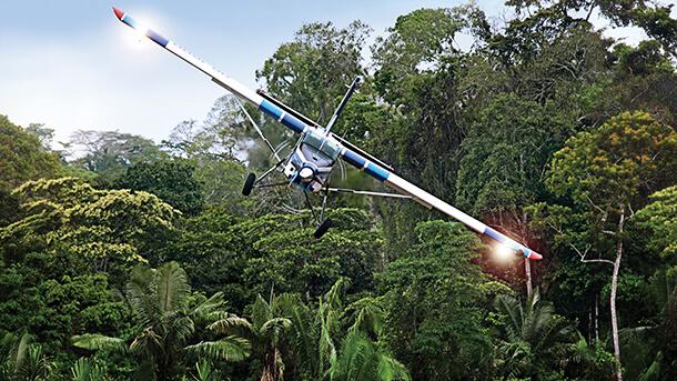 זה פילאטוס PC-6 עדיין ביצור מזה עשרות שנים ונחשב לאחד ממטוסי הבוש הטובים ביותר. כאן ביערות הגשם של פרו. צילום: פילאטוס