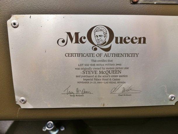 זה הג'יפ וויליס המקורי שהיה של סטיב מקווין - והוא יוצא למכירה פומבית ועשוי להביא כ-600 אלף שקלים. צילום: SILVERSTONE