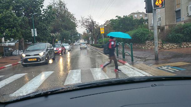 מעברי חציה מאתגרים במיוחד. המטריות מסתירות, האם הנהג שמאחור הבין שאתם עומדים? צילום: רוני נאק