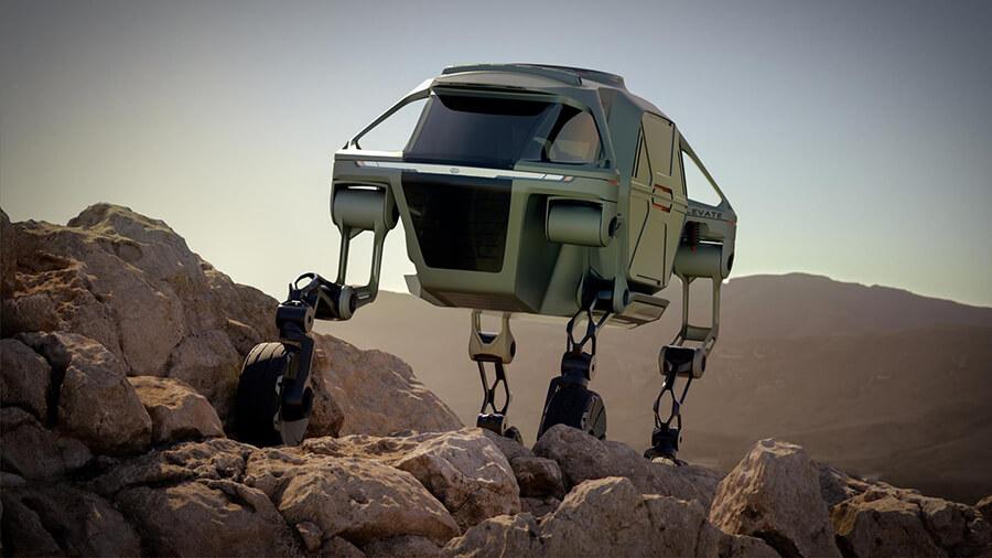 למה להתגלגל כשאפשר לצעוד - קונספט של רכב שטח צועד - עם רגליים - של יונדאי מאפשר לעשות גם וגם. צילום: יונדאי