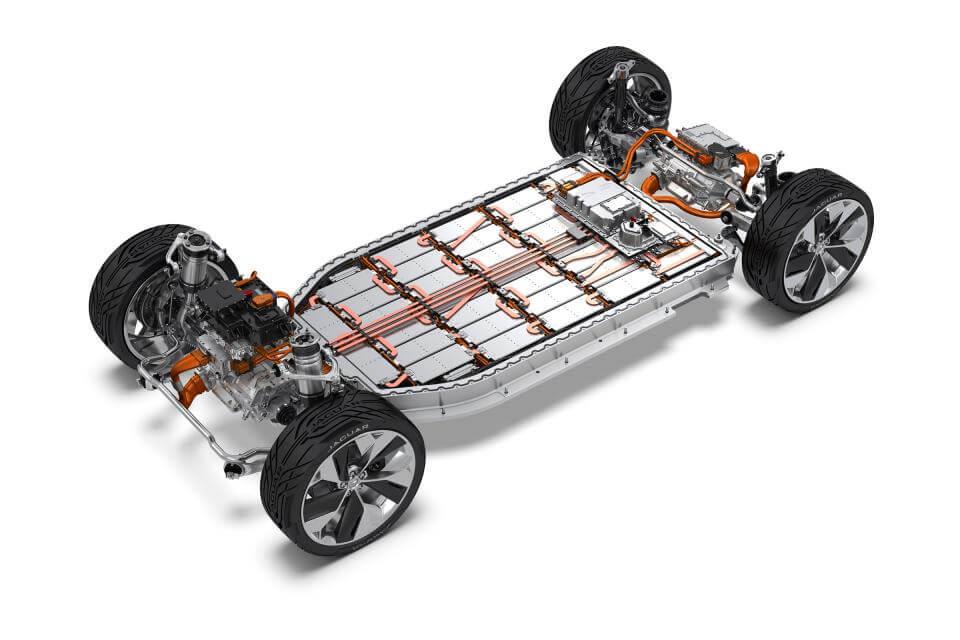 טויוטה ופנסוניק רוצות להיות ספקיות הסוללות הגדולות ביותר לרכב חשמלי. בצילום חתך של יגואר i-pace צילום: יגואר