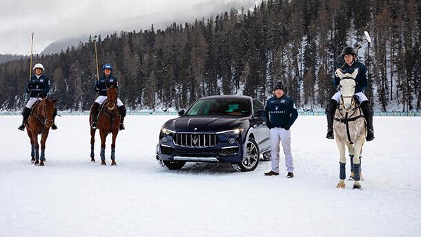 מזראטי לקחה חסות על אליפות העולם בפולו שלג - ותעמיד צי של לבנטה לאורחי ה-VIP של האליפות. צילום: מזראטי