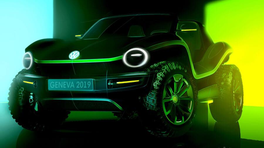 קונספט בלבד של פולקסווגן דיון באגי חשמלי - פלטפורמה מודולראית עתידית של VW. צילום: VW