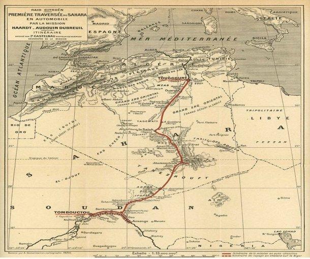 מחוף הים התיכון דרך מדבר סהרה לטימבקטו - כך חצתה סיטרואן את המדבר ב-1922. צילום: סיטרואן
