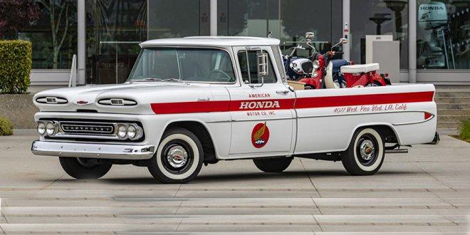 אמריקן הונדה מציינת 60 שנות פעילות עם טנדר שברולט משוחזר. פירגון נדיר בין יצרני הרכב. צילום: הונדה