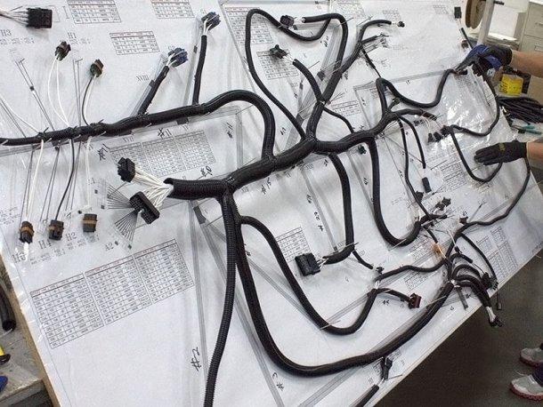 צמת חיווט לרכב כפי שמיוצרת ידנית במפעל לפני ההתקנה - הידנית - ברכב. צילום: סוזוקי