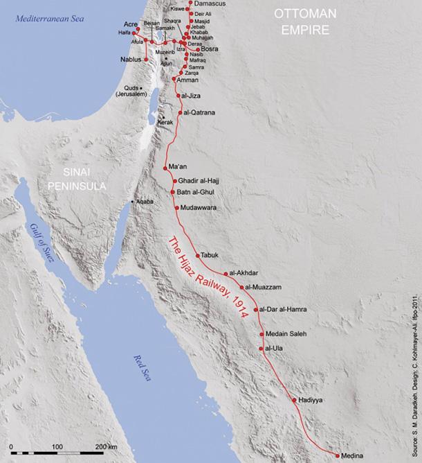 קו הרכבת החיג'אזית המלא. עקבות שנותרו בחול אחרי נפילת האימפריה העות'מנית. צילום: SMD