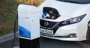 רכב חשמלי מחובר למטען רשת חכמה