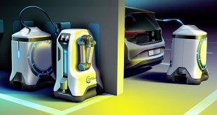 רובוט של VW טוען רכב חשמלי